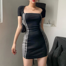 Dress Summer 2021 black S,M,L Short skirt singleton  Short sleeve street square neck High waist Solid color Socket One pace skirt routine Others 18-24 years old Type H 91% (inclusive) - 95% (inclusive) other cotton Europe and America