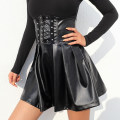 skirt Autumn 2020 S,M,L black Short skirt Versatile High waist A-line skirt Solid color Type A 18-24 years old DLD3714W11 81% (inclusive) - 90% (inclusive) other PU Resin fixation