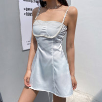 Dress Summer 2021 white S,M,L Short skirt singleton  Sleeveless street One word collar High waist Solid color Socket A-line skirt routine camisole 18-24 years old Type A More than 95% other polyester fiber Europe and America