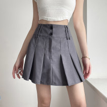 skirt Summer 2021 S,M,L grey Short skirt street High waist Pleated skirt Solid color Type A 18-24 years old DLMBD11383 51% (inclusive) - 70% (inclusive) other polyester fiber Fold, resin fixation Europe and America