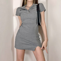 Dress Summer 2021 grey S,M,L Short skirt singleton  Short sleeve street Polo collar High waist letter Socket One pace skirt routine Others 18-24 years old Type H Embroidery , thread , Resin fixation , Split DLWAD10824 91% (inclusive) - 95% (inclusive) knitting cotton Europe and America