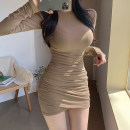Dress Autumn 2020 Khaki, black, gray, red S,M,L Short skirt singleton  Long sleeves street Crew neck High waist Solid color Socket One pace skirt routine Others 18-24 years old Type H Resin fixation DLD6424W0H 51% (inclusive) - 70% (inclusive) other cotton Europe and America