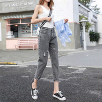 Jeans Spring 2021 Gray, blue XXS,XS,S,M,L,XL Ninth pants High waist Haren pants Thin money 18-24 years old Thin denim Dark color 96% and above