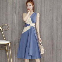 Dress Summer of 2019 Blue, black S,M,L,XL,2XL longuette singleton  Sleeveless commute V-neck High waist other Socket other other Others 18-24 years old Type H Other / other Korean version Splicing, bandage seven point one nine 81% (inclusive) - 90% (inclusive) Chiffon polyester fiber