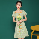 Dress Summer 2021 Green with lining S,M,L,XL Middle-skirt singleton  Short sleeve commute One word collar High waist lattice A-line skirt puff sleeve Others 18-24 years old Retro 0623#