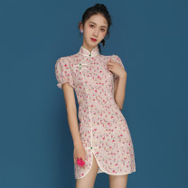 cheongsam Summer 2021 XXL,S,M,L,XL Apricot flower, pink flower Short sleeve Short cheongsam Retro Low slit daily Oblique lapel Broken flowers 18-25 years old Embroidery other 51% (inclusive) - 70% (inclusive)