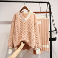 sweater Autumn of 2018 One size fits all - enterprise production Blue, pink Long sleeves Socket Two piece set Medium length other 51% (inclusive) - 70% (inclusive) V-neck thickening commute routine Solid color Straight cylinder Heavy wool Keep warm and warm 18-24 years old 2018qwww10211