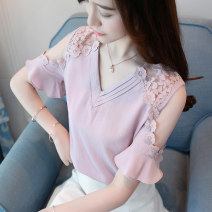 Lace / Chiffon Spring of 2018 White pink S M L XL XXL XXXL Short sleeve Versatile Socket singleton  Straight cylinder Regular V-neck Solid color pagoda sleeve 25-29 years old Ji Lu JLF172 Hollow gauze Polyester 100% Pure e-commerce (online only)