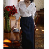 skirt Spring 2021 XS [pre sale at the end of April], s [pre sale at the end of April], m [pre sale at the end of April], l [pre sale at the end of April] Mid length dress commute High waist other Solid color Type H 25-29 years old 51% (inclusive) - 70% (inclusive) other hemp Retro