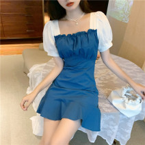 short coat Summer 2020 S M Blue black Short sleeve Medium length routine singleton  Self cultivation commute puff sleeve square neck other 18-24 years old Philenkay 96% and above 5981# other Other 100% Pure e-commerce (online only)