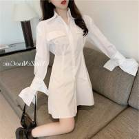 short coat Summer 2020 S M white Long sleeves Medium length singleton  Self cultivation commute Polo collar Solid color 18-24 years old Philenkay 96% and above other Other 100% Pure e-commerce (online only)