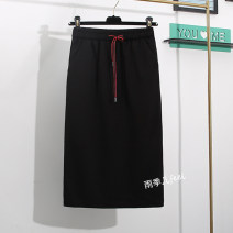 skirt Autumn of 2019 S,M,L,XL,2XL,3XL black Mid length dress commute High waist skirt Solid color Type H 25-29 years old 81% (inclusive) - 90% (inclusive) other other Pocket, lace up Korean version