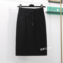 skirt Spring 2021 S,M,L,XL,2XL,3XL,4XL,5XL,6XL Black (summer thin), black (spring and autumn regular thickness), black (winter thickness) Mid length dress commute High waist skirt Solid color Type H 25-29 years old 71% (inclusive) - 80% (inclusive) other other Pocket, lace up Korean version