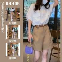 Women's large Summer 2020 White top + shorts suit M [recommended 80-100 Jin], l [100-120 Jin], XL [120-140 Jin], 2XL [140-160 Jin], 3XL [160-180 Jin], 4XL [180-200 Jin recommended] Two piece set commute other Ou Rong