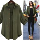 Women's large Autumn of 2019 Army green, black Large XL, large XXL, large XXL, large XXXXL, large XXXXL, large L singleton  street easy thin Cardigan Long sleeves Solid color Medium length Europe and America