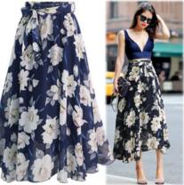 skirt Summer of 2019 L,XL,2XL,3XL,4XL,5XL Black, blue longuette street A-line skirt Decor Type A Chiffon Other / other