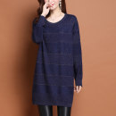 Women's large Winter 2020 Blue black dark green red L XL XXL 3XL 4XL 5XL Dress singleton  commute easy moderate Socket Long sleeves Solid color Korean version Crew neck Medium length routine HMG8285Z Heng Mu Ge Other 100% Pure e-commerce (online only)