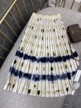 skirt Spring 2021 S,M,L Decor Mid length dress Versatile High waist Pleated skirt Decor Type A 25-29 years old More than 95% Chiffon polyester fiber Print, tie dye