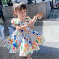 Dress Picture color female 90cm,100cm,110cm,120cm,130cm Cotton 95% other 5% summer ethnic style cotton Princess Dress