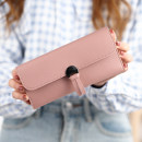 wallet Long Wallet PU Other / other Pink purple gray black dark green pink sky blue brand new Japan and South Korea female Buckles Solid color 70% off Horizontal style youth Sewing polyester cotton 090 soft surface