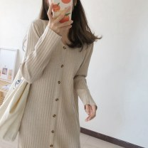 Dress Autumn 2020 [quality] apricot, [quality] black, [quality] navy blue S,M,L,XL Mid length dress singleton  Long sleeves commute V-neck Loose waist Solid color Single breasted routine Others Type H Korean version Thread, button knitting