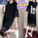 Nursing clothes black XL 2XL 3XL 4XL 5XL Willis land / Vieira Lauder Socket summer Short sleeve Medium length Korean version Dress Solid color Lift up cotton GTOWqc