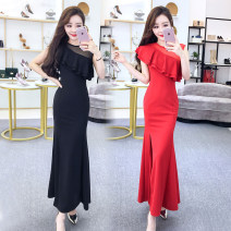 Dress Summer of 2018 Red, black S,M,L,XL,2XL longuette singleton  Sleeveless commute Crew neck middle-waisted Solid color zipper Irregular skirt routine Others Type H Other / other Pleats, stitching, buttons, mesh, zippers brocade cotton