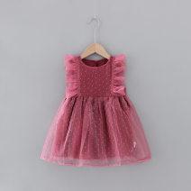 Dress Floral skirt, Qipao skirt powder female Other / other 80cm,90cm,100cm,110cm,120cm Other 100% summer princess Long sleeves other A-line skirt 12 months, 6 months, 9 months, 18 months, 2 years, 3 years, 4 years