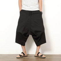 Casual pants Others Youth fashion M,L,XL,2XL,3XL,4XL,5XL thin Cropped Trousers Travel? Extra wide No bullet summer Large size Chinese style 2019 middle-waisted Little feet Sports pants Solid color hemp Cotton and hemp Less than 30%