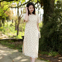 Dress Summer 2021 Picture color M L Middle-skirt singleton  Short sleeve commute other Loose waist Broken flowers Single breasted A-line skirt routine Oblique shoulder 30-34 years old Type A Chaos in the south of the Yangtze River literature Button lace print More than 95% other polyester fiber