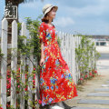 Dress Summer 2020 Decor Average size longuette singleton  Short sleeve commute square neck Elastic waist Decor Socket A-line skirt routine Others 30-34 years old Type A Chaos in the south of the Yangtze River Retro 30% and below hemp Viscose (viscose) 70% flax 30% Pure e-commerce (online only)