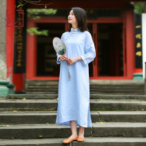 Dress Spring of 2019 M L Mid length dress singleton  three quarter sleeve commute stand collar Loose waist Solid color Socket A-line skirt routine Others 35-39 years old Type H Chaos in the south of the Yangtze River Retro More than 95% hemp Flax 95% others 5% Pure e-commerce (online only)