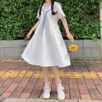 Dress Summer 2021 Blue skirt, white skirt S,M,L,XL,2XL Mid length dress singleton  Short sleeve Sweet Admiral High waist Solid color Socket A-line skirt routine Others 18-24 years old Type A printing 51% (inclusive) - 70% (inclusive) other polyester fiber college