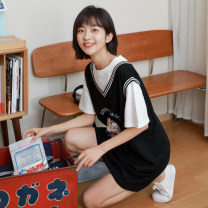 Dress Spring 2021 black Average size Short skirt Fake two pieces Short sleeve commute Crew neck Loose waist Cartoon animation Socket routine 18-24 years old Type H Other / other Korean version Stitching, printing 81% (inclusive) - 90% (inclusive) cotton