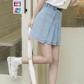 skirt Summer 2021 S,M,L Sky blue Short skirt commute High waist A-line skirt Type A 18-24 years old 71% (inclusive) - 80% (inclusive) Denim Other / other polyester fiber Fold, asymmetric Korean version