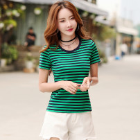 T-shirt Woman 9335 white woman 9335 green woman 9335 Khaki S M L XL 2XL 3XL Summer of 2019 Short sleeve Crew neck Self cultivation Regular routine commute other 96% and above 18-24 years old Korean version classic Thin horizontal stripe Shiken 9335(3) Other 100%
