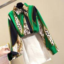 Lace / Chiffon Spring 2020 green S,M,L,XL Long sleeves Cardigan singleton  easy Regular Polo collar Leopard Print