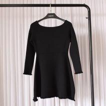 Dress Winter of 2018 black Average size Mid length dress singleton  Long sleeves commute One word collar High waist Solid color Socket A-line skirt raglan sleeve Others Type A Korean version