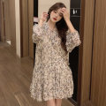 Women's large Autumn 2020 Floral skirt S M L XL Dress singleton  commute easy moderate Socket Long sleeves Broken flowers V-neck polyester fiber fold routine Maymonau / maimengou 18-24 years old Bandage longuette Other 100% Exclusive payment of tmall Ruffle Skirt Lotus leaf edge