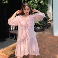 Dress Summer of 2019 S M L XL Short skirt Two piece set Long sleeves commute V-neck High waist Socket pagoda sleeve Others 18-24 years old Korean version More than 95% other Other 100% Pure e-commerce (online only)