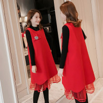 Dress Yu Yan Pink and white sweater red and black sweater M L XL XXL Korean version Long sleeves Medium length spring Crew neck Solid color Y1306