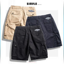 Casual pants subcrude Youth fashion Black, khaki, dark blue M,L,XL,2XL,3XL routine Shorts (up to knee) Other leisure easy No bullet summer youth Military brigade of tooling 2020 middle-waisted Straight cylinder Overalls pocket No iron treatment Solid color plain cloth cotton cotton Fashion brand