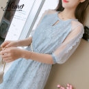 Dress Summer of 2019 Blue, apricot, green, red, pink 2, blue 2, green white, blue 3, green 1, green 2, Pink 3, red 1, Pink 4, pink 5, apricot 1, blue 4, pink 6 S,M,L,XL Mid length dress singleton  elbow sleeve commute Crew neck High waist Decor Socket Princess Dress other Others 18-24 years old other