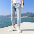 Jeans Youth fashion Ji Feng 27 28 29 30 31 32 33 34 36 38 106 × blue 105 × blue Thin money Micro bomb Cotton elastic denim JF-106 Ninth pants Cotton 69.5% polyester 28.3% polyurethane elastic fiber (spandex) 1.7% other 0.5% spring youth middle-waisted Haren pants tide 2020 Little straight foot zipper