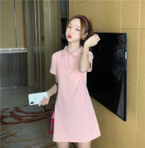 Dress Summer 2021 Pink M L XL Short skirt singleton  Short sleeve commute Polo collar High waist Solid color Socket A-line skirt routine Others 18-24 years old Type H Zoka Button lk2051 More than 95% other cotton Cotton 100% Pure e-commerce (online only)