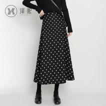 skirt Autumn 2020 XS S M L XL 2XL black Mid length dress commute High waist A-line skirt Dot 25-29 years old yx6774sk More than 95% Yixi polyester fiber Korean version Polyester 96% polyurethane elastic fiber (spandex) 4%