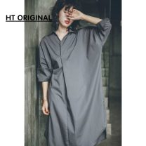 shirt Grey, light blue Average size Spring 2020 cotton 96% and above elbow sleeve street Medium length V-neck Socket routine Solid color 18-24 years old Straight cylinder Europe and America
