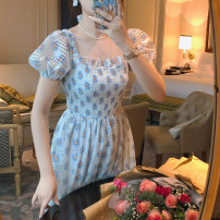 Dress Summer 2020 Main graph color S,M,L Mid length dress Short sleeve square neck puff sleeve