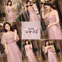 Dress / evening wear Wedding, adulthood, party, company annual meeting, performance, routine, appointment Korean version longuette middle-waisted Spring of 2019 Fall to the ground One shoulder Bandage Netting 18-25 years old three quarter sleeve Solid color bishop sleeve