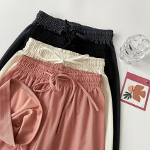 Casual pants black XS S M L XL Summer 2021 trousers Haren pants High waist commute routine 18-24 years old 96% and above 4.7N-15 VV combination cotton Korean version pocket Polyester 100% Pure e-commerce (online only)